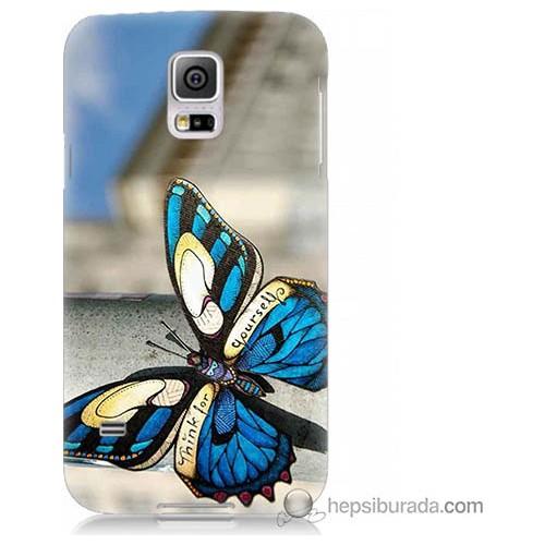 Bordo Samsung Galaxy S5 Mini Mavi Kelebek Baskılı Silikon Kapak Kılıf