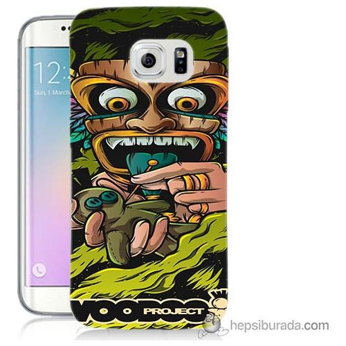 Bordo Samsung Galaxy S6 Edge Vooodoo Baskılı Silikon Kapak Kılıf