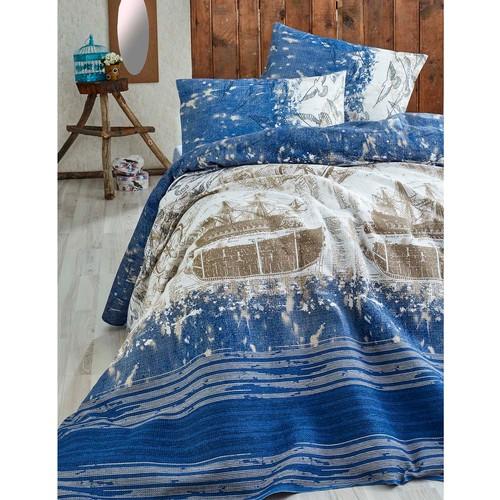 Eponj Home Doğal Pike Baskılı Çift Kişilik Pusula K.Mavi