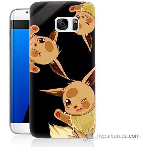 Bordo Samsung Galaxy S7 Edge Üçlü Pikachu Baskılı Silikon Kapak Kılıf
