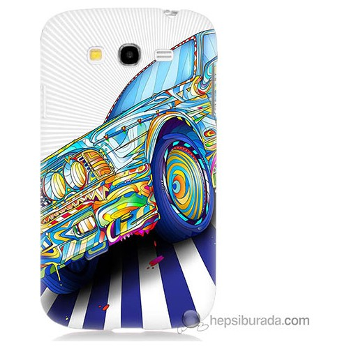 Bordo Samsung Galaxy Grand Duos Mavi Araba Baskılı Silikon Kapak Kılıf