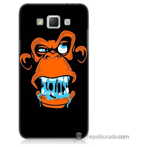 Bordo Samsung Galaxy Grand Max Turuncu Goril Baskılı Silikon Kapak Kılıf