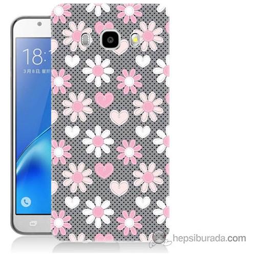 Bordo Samsung Galaxy J3 2016 Papatya Baskılı Silikon Kapak Kılıf