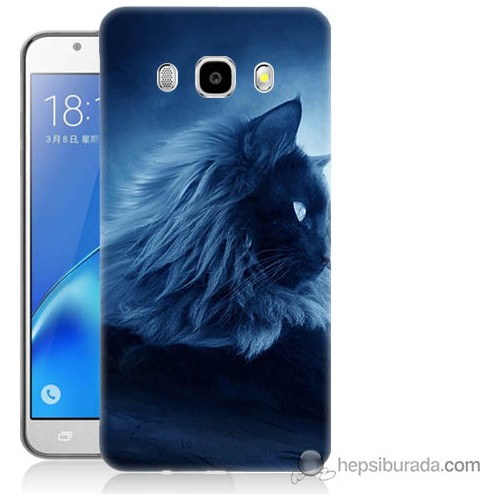 Bordo Samsung Galaxy J3 2016 3D Kedicik Baskılı Silikon Kapak Kılıf