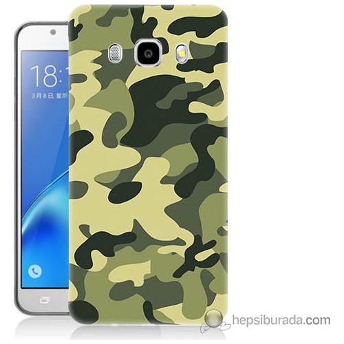 Bordo Samsung Galaxy J3 2016 Kamuflaj Baskılı Silikon Kapak Kılıf
