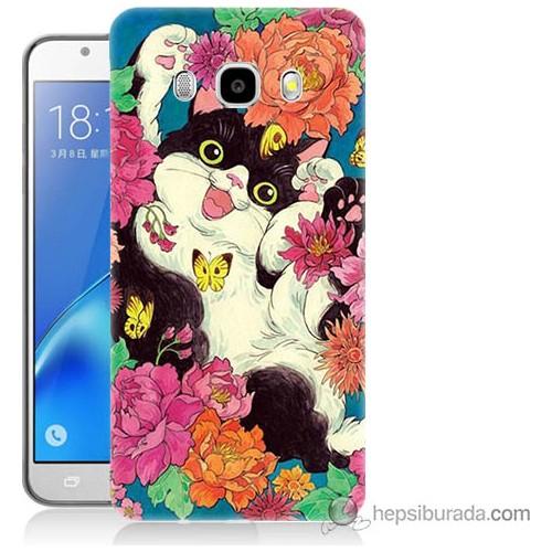 Bordo Samsung Galaxy J3 2016 Mutlu Kedicik Baskılı Silikon Kapak Kılıf