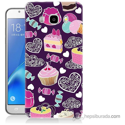 Bordo Samsung Galaxy J7 2016 Renkli Pastalar Baskılı Silikon Kapak Kılıf