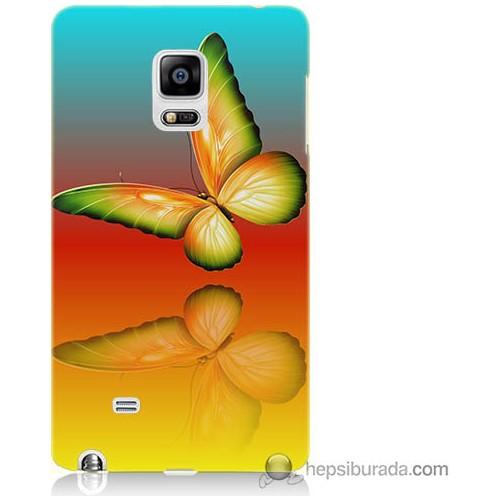 Bordo Samsung Galaxy Note Edge Sarı Kelebek Baskılı Silikon Kapak Kılıf
