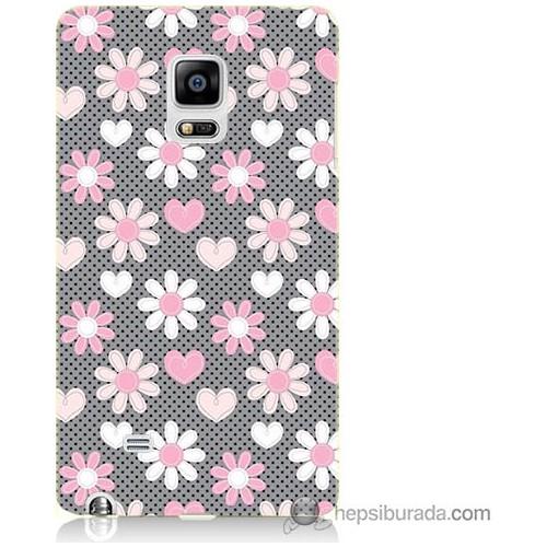 Bordo Samsung Galaxy Note Edge Papatya Baskılı Silikon Kapak Kılıf