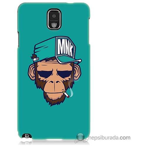 Bordo Samsung Galaxy Note 3 Sakallı Maymun Baskılı Silikon Kapak Kılıf