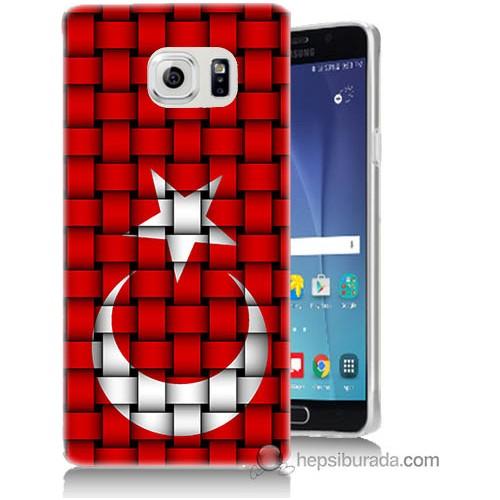 Bordo Samsung Galaxy Note 5 Kareli Türk Bayrağı Baskılı Silikon Kapak Kılıf