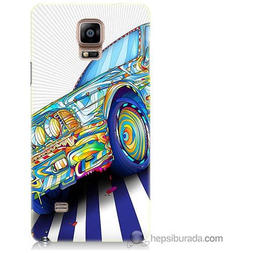 Bordo Samsung Galaxy Note 4 Mavi Araba Baskılı Silikon Kapak Kılıf