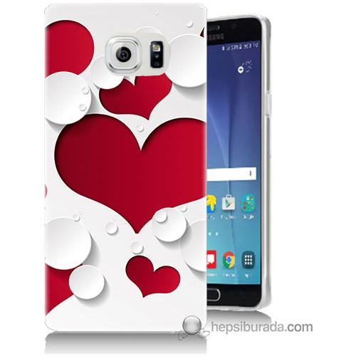 Bordo Samsung Galaxy Note 5 3D Kalp Baskılı Silikon Kapak Kılıf