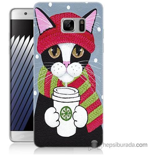 Bordo Samsung Galaxy Note 7 Pembe Kedi Baskılı Silikon Kapak Kılıf