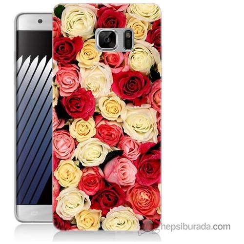 Bordo Samsung Galaxy Note 7 Gül Bahçesi Baskılı Silikon Kapak Kılıf