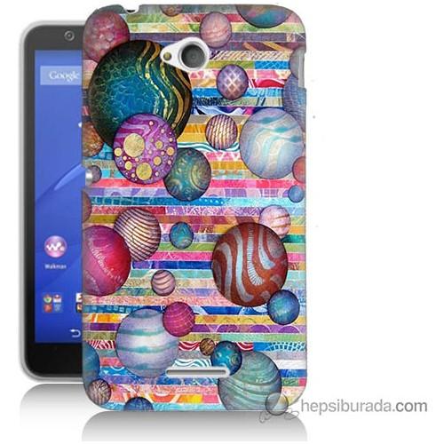 Bordo Sony Xperia E4G Renkli Toplar Baskılı Silikon Kapak Kılıf