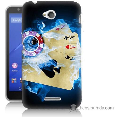 Bordo Sony Xperia E4G Dumanlı İskambil Baskılı Silikon Kapak Kılıf