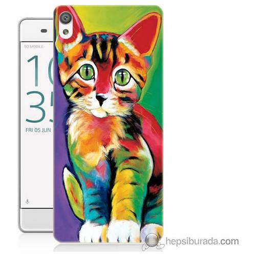 Bordo Sony Xperia E5 Resim Kedi Baskılı Silikon Kapak Kılıf