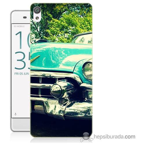 Bordo Sony Xperia E5 Klasik Araba Baskılı Silikon Kapak Kılıf