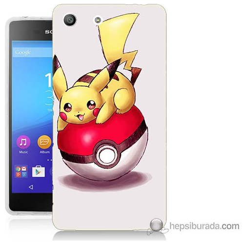 Bordo Sony Xperia M5 Pokemon Topu Baskılı Silikon Kapak Kılıf