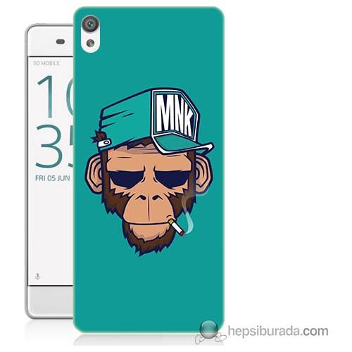Bordo Sony Xperia Xa Sakallı Maymun Baskılı Silikon Kapak Kılıf