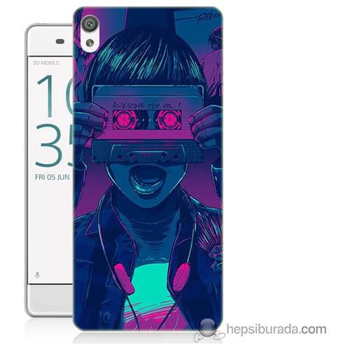 Bordo Sony Xperia Xa Kaset Göz Baskılı Silikon Kapak Kılıf