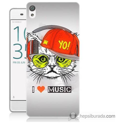 Bordo Sony Xperia Z5 Müzik Dinleyen Kedi Baskılı Silikon Kapak Kılıf