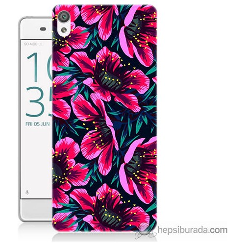 Bordo Sony Xperia Z5 Compact Pembe Çiçek Baskılı Silikon Kapak Kılıf