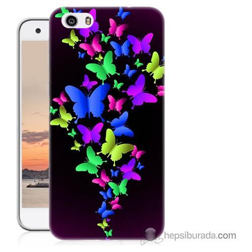 Bordo Vestel Venüs V3 5570 Renkli Kelebekler Baskılı Silikon Kapak Kılıf