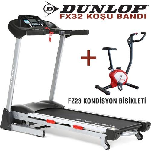 Dunlop FX32 2,5 HP Otomatik Eğimli MP3 Özellikli Koşu Bandı + Fox Fitness FZ23 Kondisyon Bisikleti hediye