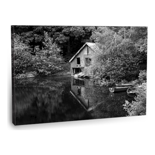 Fotografyabaskı Nehir Kıyısındaki Ev Ve Kayıklar Tablosu 75 Cm X 50 Cm Kanvas Tablo Baskı