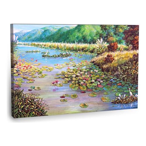 Fotografyabaskı Kıyıda Lotus Çiçekleri Tablo 75 Cm X 50 Cm Kanvas Tablo Baskı
