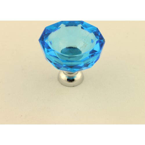 Kristal Taşlı Kulp Kadeh Turkuaz Mavi