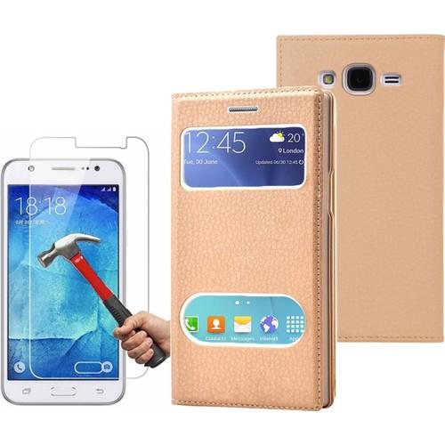 Kılıfshop Samsung Galaxy J1 Ace Pencereli Dolce Kapaklı Kılıf Ekran Koruyucu