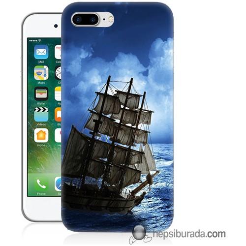 Teknomeg iPhone 7 Plus Kapak Kılıf Yelkenli Baskılı Silikon