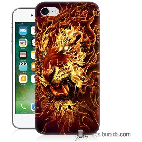 Teknomeg iPhone 7 Kılıf Kapak Ateşli Aslan Baskılı Silikon