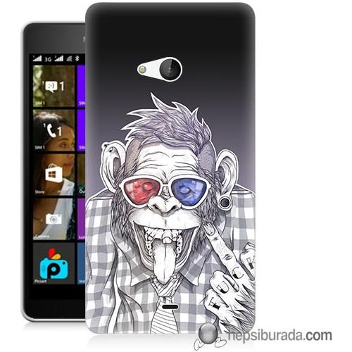 Teknomeg Microsoft Lumia 540 Kapak Kılıf Maymun Baskılı Silikon