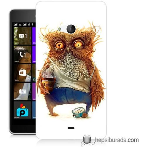 Teknomeg Microsoft Lumia 540 Kapak Kılıf Miskin Baykuş Baskılı Silikon