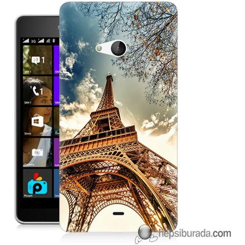 Teknomeg Microsoft Lumia 540 Kapak Kılıf Eyfel Kulesi Baskılı Silikon