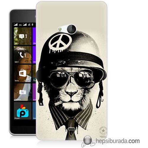 Teknomeg Microsoft Lumia 540 Kılıf Kapak Barışçı Aslan Baskılı Silikon