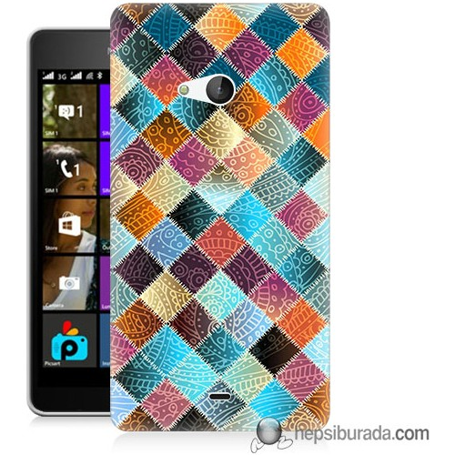 Teknomeg Microsoft Lumia 540 Kılıf Kapak Kırkyama Baskılı Silikon