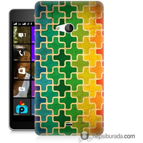 Teknomeg Microsoft Lumia 540 Kapak Kılıf Renkli Artı Baskılı Silikon