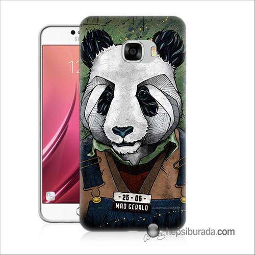 Teknomeg Samsug Galaxy C5 Kapak Kılıf İşçi Panda Baskılı Silikon