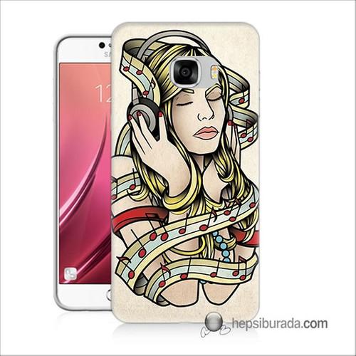 Teknomeg Samsug Galaxy C7 Kapak Kılıf Müzik Aşkı Baskılı Silikon