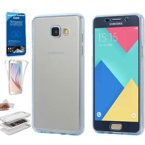 Teleplus Samsung Galaxy A3 2016 Ön & Arka 360 Full Korumalı Silikon Kılıf + Kırılmaz Cam