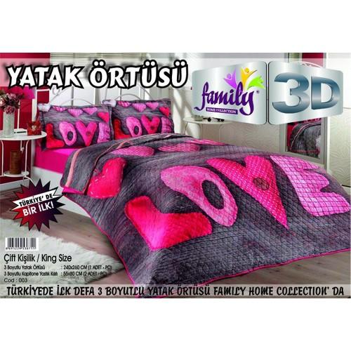 Family 3D Baskılı Çift Kişilik Yatak Örtüsü 003
