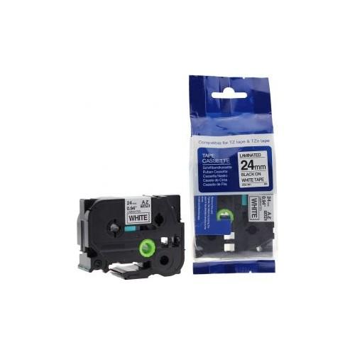 Sarf Muadil Brother P-Touch Tz-Tape 24Mm Beyaz-Siyah Etiket 24Tze251