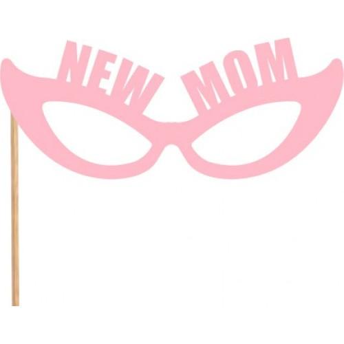 New Mom Pembe Gözlük Konuşma Balonu Parti Çubuğu