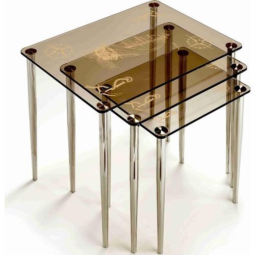 Ku- Cam Bodrum Gulet Temalı Bronz 3'Lü Orta Cam Zigon Sehpa