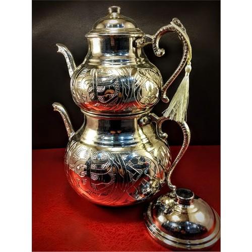 Sonay Bakırcılık Bakır Ağır İşlemeli Çaydanlık Döküm Sap